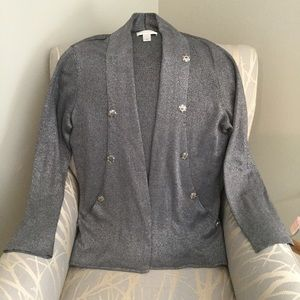 Gray Metallic Christopher and Banks Cardigan